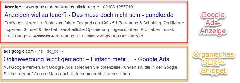 adwords vs organic commented • Wie sieht ein SERP aus? Aufbau von Suchergebnisseiten von Google Ads bis Rich Cards